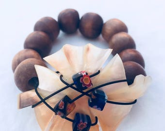 Vintage Carved Mother of Pearl Bracelet with Wood Beads