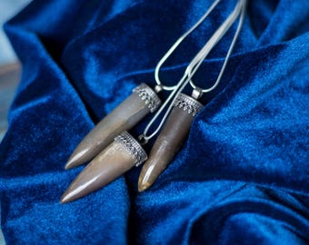 Belemnite fossil silver pendant, bullet shape boho silver necklace, real fossil jewelry, witchy jewelry,
