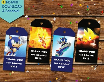 Sonic the Hedgehog Thank You Tags, Sonic the Hedgehog Party Favors, Sonic the Hedgehog Birthday Tags, Sonic Thank You Tags, Sonic Gift Tags