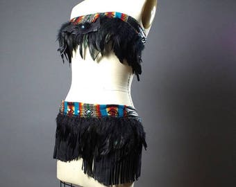 ON SALE Festival Clothing - Burning man Clothing - Native American Inspired - Hippie - Festival Fashion - Feather Costume  - Rave