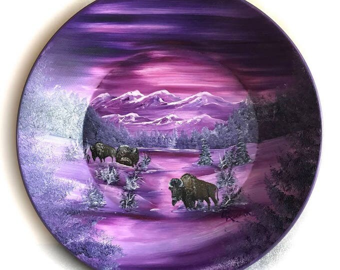 Hand Painted 11 Inch Gold Pans Mauve Lavender Winter Buffalo On Sale!!