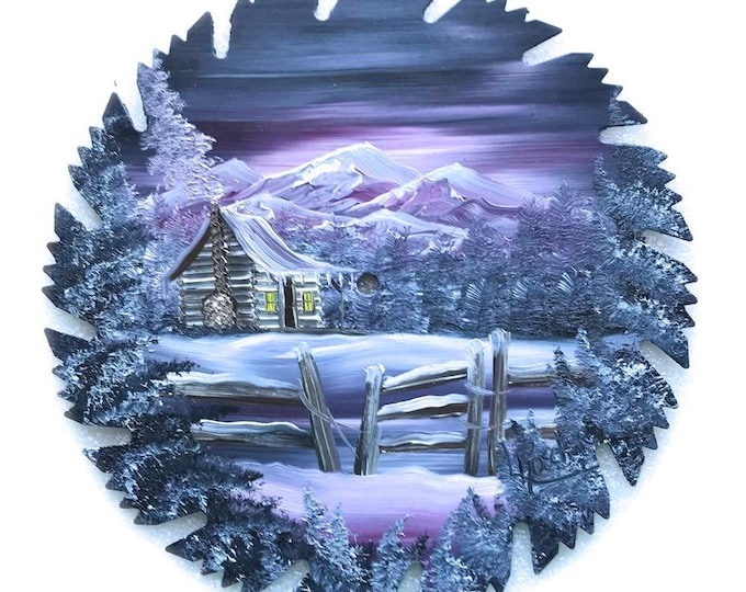Hand Painted Saw Blade Mountain Winter Gray and Mauve Snow Log Cabin