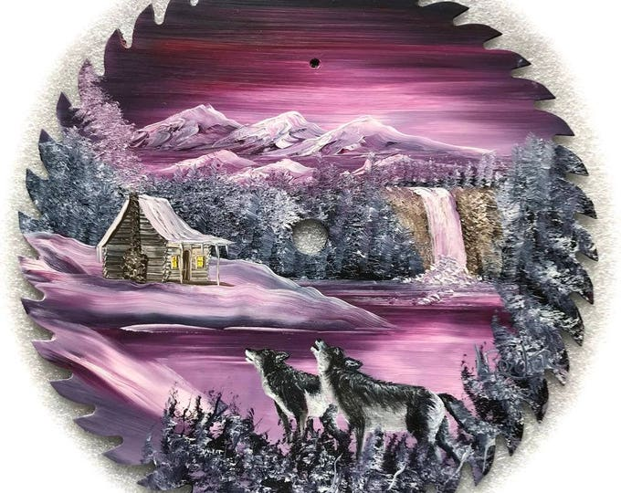 Hand Painted Saw Blade Mountain Mauve Waterfall Wolves 10 1/4 inch Real Saw Blade