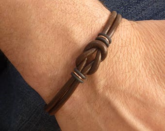Mens Brown Leather Bracelet, Celtic Bracelet, Mens Copper Bracelet, Mens Leather Brown Bracelet, Unique Gift for Men, Couple Bracelet