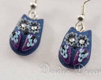 Owl Earrings, Polymer Clay Owls, Owl Jewelry, Hippie Boho Owls, Kawaii Earrings, Novelty Geek Earrings, Kawaii Jewelry, Polymer Clay Jewelry