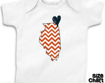 SALE Illinois Love Orange Navy Baby Toddler Children Kids Boy Girl T-shirt Bodysuit Choice of Any State and Colors