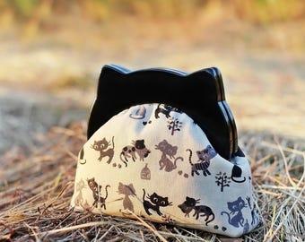 Resin frame clutch, Cat clutch purse