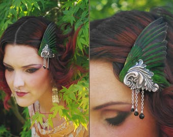 Romantic absinthe green bird wing hair fascinator gilded antique metal scrolls ~ Wearable Taxidermy ~ Green Fairy ~ Victorian ~ Carnival