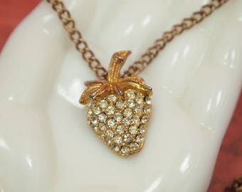 "Vintage Rhinestone Strawberry Pendant - Pave' Set Faceted Clear Glass Rhinestones - 18"" Gold Metal Chain - Gold Plated 1"" Pendant"