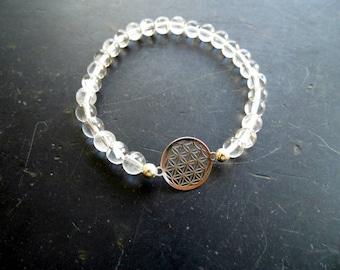 bracelet, symbol bracelet, mountain crystal, Flower of life, silver, unisex