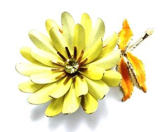 Big Flower Brooch Signed Coro Yellow Enamelware Rhinestone Accents Double Signature Collector Piece