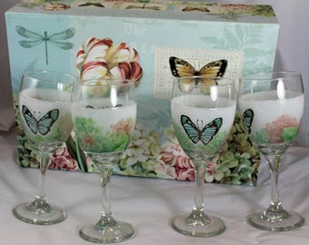 Hand Painted Wine Glasses Butterfly Pattern with Gift box