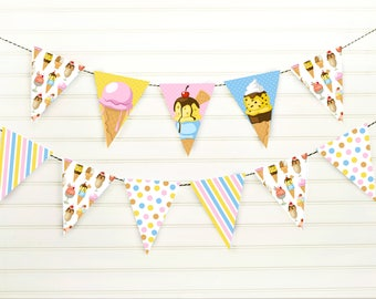 Ice Cream Banner - Ice Cream Pennant Banner - Ice Cream Party - Ice Cream Decoration - Ice Cream Garland - Party Banner - Printable Banner
