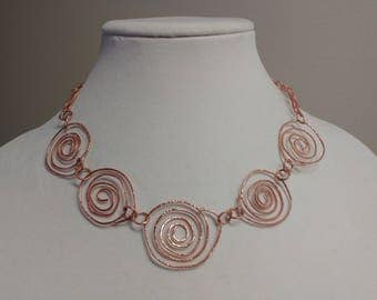 Copper spirals necklace, artisan crafted necklaces, metalsmith necklaces and jewelry