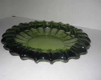 """Ashtray, Vintage 10"""" Heavy Green Glass Ash Tray, Avacadeo"""