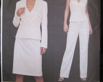 Size 12 - 16, Vogue 2641, DKNY, Vogue American Designer, 4 pcs, peplum jacket with lapels, sleeveless wrap top, straight skirt and pant 2002