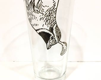 Hand Painted Animal Pint Glasses - Quail