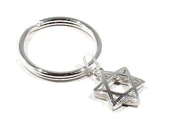 Star David Key Chain Judaic Keyring Bat Mitzvah Gift Magen David Gift  Jewish Star Jewelry Jewish Gift Judaic Gift