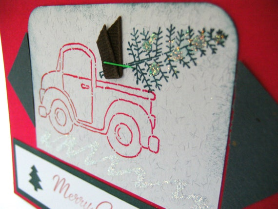 CARD Merry Christmas Tree / Hand stamped Pick Up Truck with punched Trees