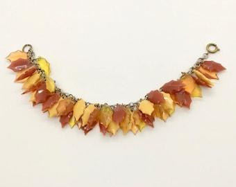 Leaf Bracelet, Silver Tone Bracelet with Yellow and Orange Leaves, Bracelet with Dangling Leaves, Vintage Leaf Bracelet, Autumn Leaves
