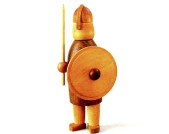 "Vintage 1960s Arne Tjomsland Norway   MCM Hand Carved Wood Viking Warrior Figure 7 1/4"" tall  Scandinavian Excellent Condition"