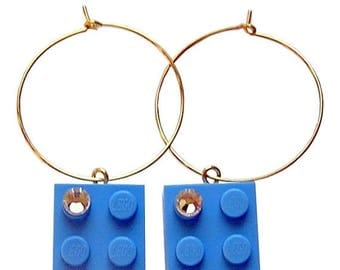 ON SALE Light Blue LEGO (R) brick 2x2 with a Diamond color Swarovski crystal on a Silver/Gold plated hoop
