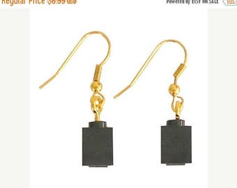 Black LEGO (R) brick 1x1 on a Silver/Gold plated dangle (hook)