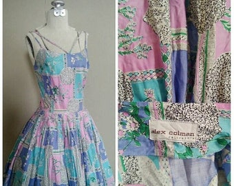 20% OFF / Wildflower Field 1950s Alex Coleman California Blue/Purple/Pink/Green Botanical/Floral Print/Cage Style Dress