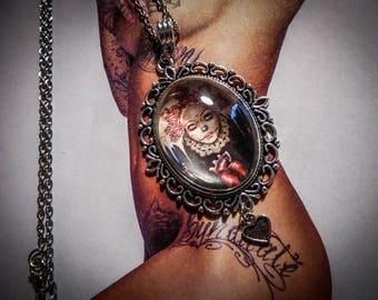 """Necklace silver cameo calavera dia de los muertos """"Portrait"""""""