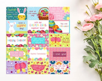 Easter Lunchbox Notes for Kids - Set of 15 Cards - Easter Cards - School Notes - Kids Lunch Notes - Easter