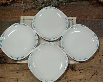 """Vintage Set of Four Syracuse China / Normandy Pattern / 6"""" Square Dessert / Bread and Butter Plates / Turquoise Blue and White"""