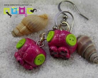 Kawaii Octopus Faux Plush Drop Dangle Earrings- Pink Holographic