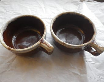 Pair of Western Monmouth Drip Glaze Brown Pottery Bowls w/Handles Cream and Speckled Glaze Round Handle Holes 1930's Maple Leaf