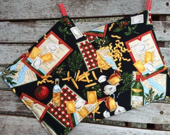 One (1) POT HOLDER - Pasta and Italian Cuisine, Personalization Available