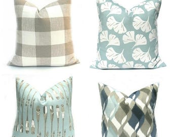 15% Off Sale Blue Pillow Blue Pillow Cover, Tan Pillow , Tan Pillow Cover, Decorative Pillow Cover, Blue Tan Pillow , Accent Pillow Cover, N