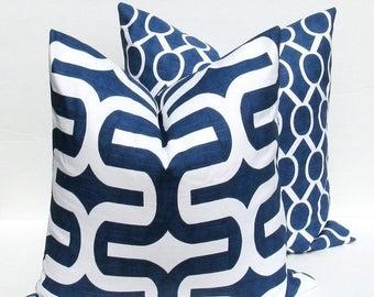 15% Off Sale Navy Pillow Blue Pillow Decorative Pillow Blue Pillow Cover TWO - Pillow Covers 18x18 Dark Blue Pillow  Decorative pillow Accen