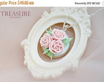 SALE Pink rose necklace, pink flower necklace, pink pendant, bridal necklace, pink roses necklace, roses something pink, pink flower jewelry