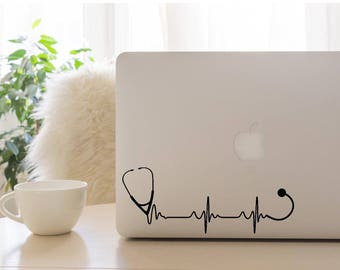 Stethoscope Heartbeat Decal, Heartbeat Decal, Stethoscope Decal, Car Decal, Laptop Decal