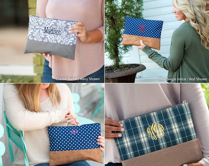 Monogrammed Makeup Bag, Personalized Cosmetic Bag, Cosmetic Pouches, Bridesmaids Gifts, Personalized Gifts, Pencil Case, Toiletry Bag