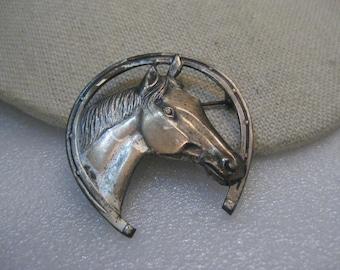 "Sterling Silver Horse & Horseshoe Brooch, Mid-Century, 8.00 Gr., 1.75"""