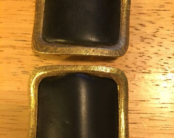 Black Leather & Gold Square Musi Shoe Clips