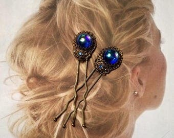 1stDayofSummerSALE Bridal Hair Pins Jewelry Blue Dragon's Breath Filigree Hairpins, West Germany