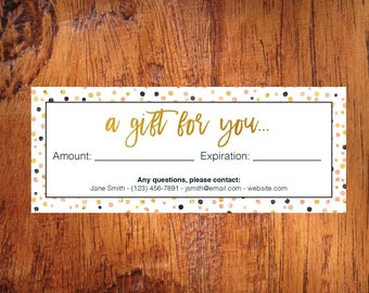 Gift Certificate DIY instant download - 3x5 printable 3 to a sheet   Gold Pink Rose Confetti