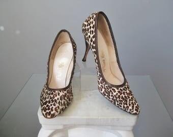 Animal Print Shoes / Vtg 50s / Frank More Calf Hair Animal Print Shoes / Animal Print Stilettos / Size 6.5