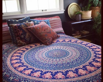 Indian Cotton Elephant Bed Tapestry