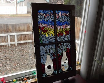 Mosaic Window Vases And Flowers, Stained Glass Window, Home Decor, Vintage  Window,