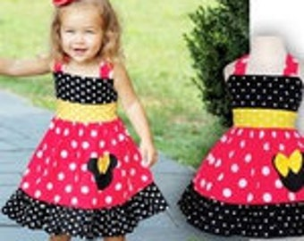 Red or Pink , Yellow and Black Minnie Mouse Costume Flower Girl Birthday Outfit
