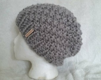 Hand knit textured chunky knit slouchy hat **you choose the color**