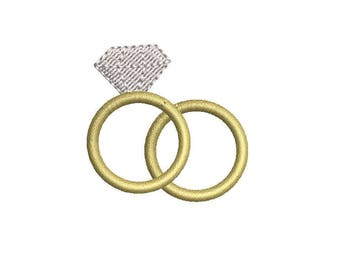 Mini Wedding Rings Machine Embroidery Design - Instant Download