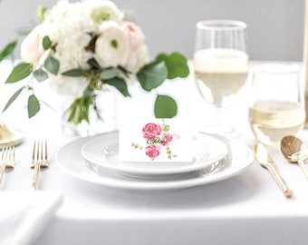 Wedding Table Place Cards Country Rose Design